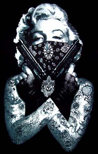 New! Marilyn Monroe Black T Shirt - Bandana & Guns Tattoo ...