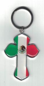 MEXICO FLAG ''CROSS'' KEYCHAIN