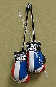 DOMINICAN REPUBLIC FLAG HANGING BOXING GLOVES