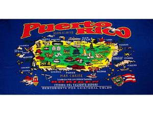 PUERTO RICO ''MAP'' BEACH TOWEL