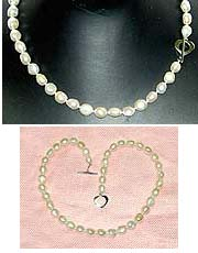 Fresh Water PEARL Short Necklace  - White/Potato w One Side Flat