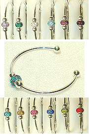 BIRTHSTONE Color Cuff with Silver Core Crystal Beads