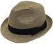Adjustable Short Brim Fedora Hat (Natural COFFEE)