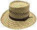 Rush Straw Gambler Hats w. LEATHER Band