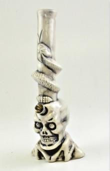 Ceramic Skull FIGURINE Water Pipe - 11''