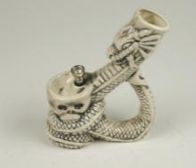 Ceramic DRAGON Skull Figurine Pipe