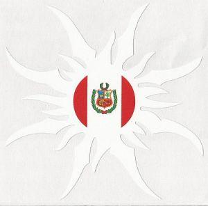 PERU FLAG SUN CAR STICKER, DECAL