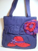 Fashion Bag - Purple w/RED HAT w/Flower - * SALE * -#RBG-28PU