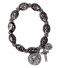 Black Murano Beaded Rosary Stretch BRACELET w/ Lourdes Water