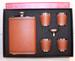 BROWN LEATHER FLASK  SET W FOUR SHOT GLASSES