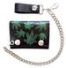 MULTI POT LEAVES LEATHER TRIFOLD WALLEET W CHAIN