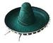 GREEN MEXICAN SOMBRERO STRAW HAT WITH TASSLES