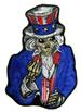 UNCLE SAM POSTER FLIPPING MIDDLE FINGER BIKER 5 IN EMBROIDERIED P