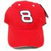 RED COLOR #8 RACING EMBROIDERED BASEBALL HAT