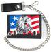 USA PATROIT EAGLE TRIFOLD LEATHER WALLETS WITH CHAIN