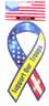 RIBBON CAR MAGNET, ''Support Our Troops''. Magnetic DECAL.