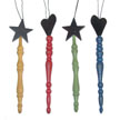 Wood Finial Ornament - 4 assorted