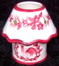 Red  Toile Rooster  Candle LAMP