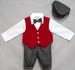 HOLIDAY Style Boys Knicker Set With Velvet Vest - Red (Sizes:1-4)