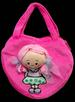 Girls Heart Shaped Plush HANDBAG With Doll  ( # 4455)