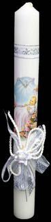 Embellished White CANDLE - 12'' ( # 849-14)