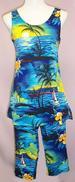 Hawaiian  Prints Womens  2Pc Capri PANTS Sets