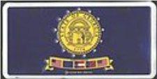 LICENSE PLATE,''GEORGIA STATE FLAG'' METAL TAG