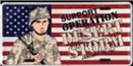 U.S. FLAG ''DESERT STORM'' METAL LICENSE PLATE