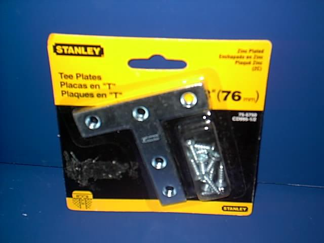 STANLEY TOOLS 3'' TEE-PLATES WITH SCREWS. ZINC PLATED HARDWARE