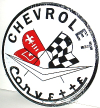 TIN SIGN,12'' ROUND CHEVROLET CORVETTE RACING FLAGS SIGN.