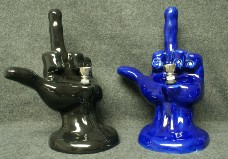 ceramic FIGURINE Pipe - Middle Finger