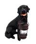 15'' Black Labrador Garden Statue with Solar Lantern for CHRISTMAS