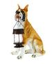 15'' Boxer Dog Garden Statue with Solar Lantern for CHRISTMAS Gift