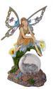 Fairy on Calla Lily Crackle Glass Ball Solar FIGURINE Light