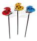 A pack of Red, Blue & Yellow Ladybugs Solar Garden Lights