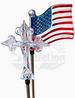 A Pack of Cross and Flag Solar Garden Lights, 2 pcs included