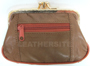 Genuine LEATHER Double Snap Two Zipper Coin Purse Assorted Color
