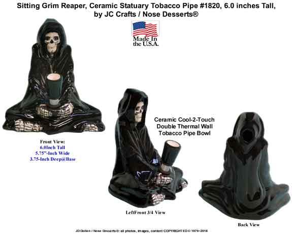 Sitting Grim Reaper, Ceramic Statuary Tobacco PIPE, Made in USA