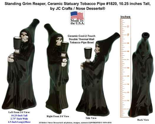 Standing Grim Reaper, Ceramic Statuary Tobacco PIPE, Made in USA