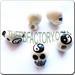 Ceramic JEWELRY skull shaped bead with Yin Yang