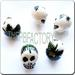 Ceramic JEWELRY skull shaped bead with Leaf