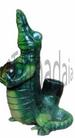 Standing Croc FIGURINE resin smoking pipe with glass stone