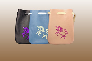 Medium Leather Pouch with UNICORN Imprint