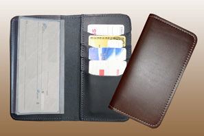 LEATHER Credit Card Checkbook Cover