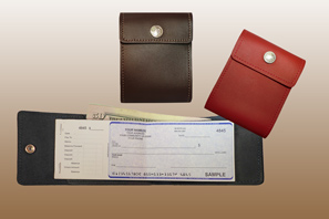 LEATHER End Stub Checkbook Cover