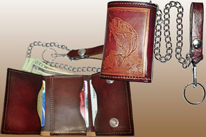 Leather CHAIN WALLET with Embossing