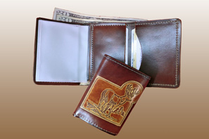 Trifold LEATHER WALLET with Embossing