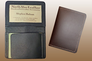 LEATHER Money-Clip ID Case with ID window