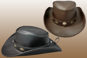 Leather Outback Hat with Snakeskin Band
