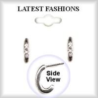 HOOP EARRINGS Silver Plated & Austrian Crystal Stones